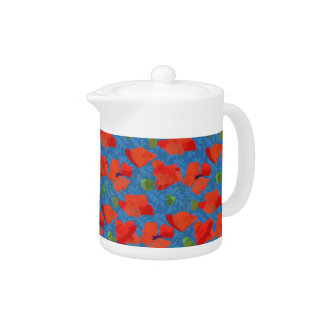 Scarlet Field Poppies on Blue China Teapot