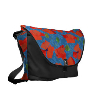 Scarlet Field Poppies on Blue Messenger Bag