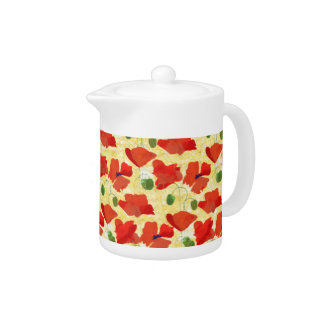 Scarlet Field Poppies on Cornfield Yellow Teapot