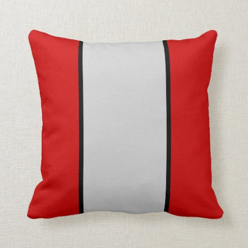 Scarlet Gray and Black Throw Pillow