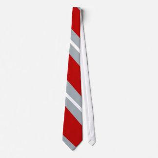 Scarlet, Gray, and White Diagonal-Striped Tie