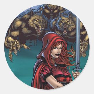 Scarlet Huntress vs. Werewolves Classic Round Sticker