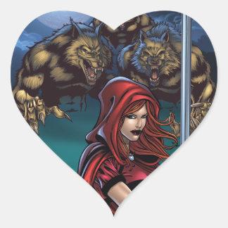 Scarlet Huntress vs. Werewolves Heart Sticker