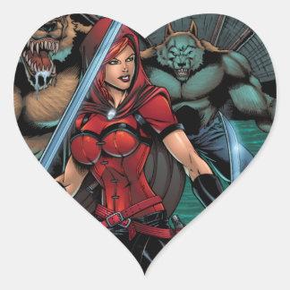 Scarlet Huntress vs Werewolves in the sewer Heart Sticker