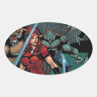 Scarlet Huntress vs Werewolves in the sewer Oval Sticker