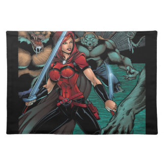 Scarlet Huntress vs Werewolves in the sewer Place Mat