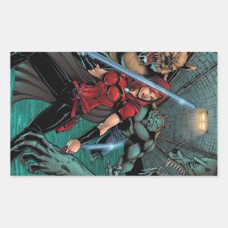 Scarlet Huntress vs Werewolves in the sewer Rectangular Sticker