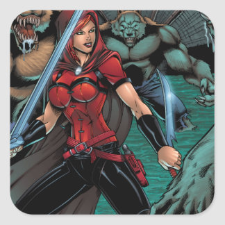 Scarlet Huntress vs Werewolves in the sewer Square Sticker