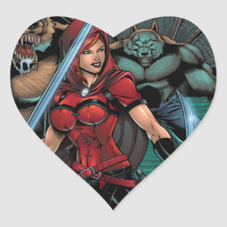 Scarlet Huntress vs Werewolves in the sewer Heart Stickers