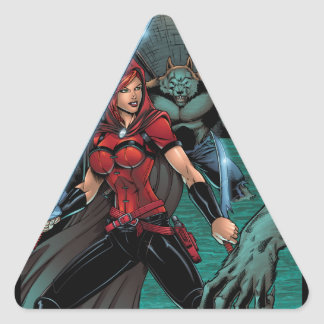 Scarlet Huntress vs Werewolves in the sewer Triangle Sticker