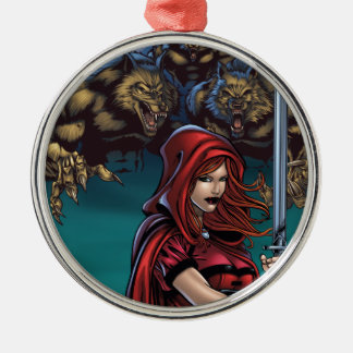 Scarlet Huntress vs. Werewolves Metal Ornament