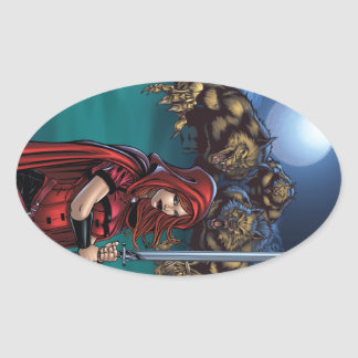 Scarlet Huntress vs. Werewolves Oval Sticker