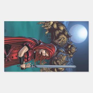 Scarlet Huntress vs. Werewolves Rectangular Sticker