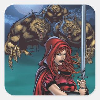 Scarlet Huntress vs. Werewolves Square Sticker
