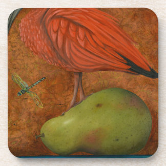 Scarlet Ibis On A Pear Beverage Coaster