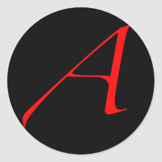 Scarlet letter A (for Atheist) Classic Round Sticker