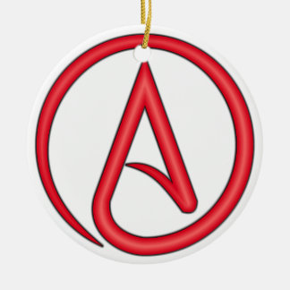 Scarlet Letter Atheist Symbol Double-Sided Ceramic Round Christmas Ornament