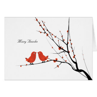 Scarlet Lovebirds Personalized Photo Thank You Greeting Cards