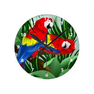 Scarlet Macaw Art Wall Clocks