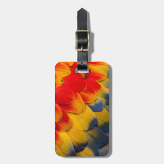 Scarlet Macaw feathers close-up Luggage Tag