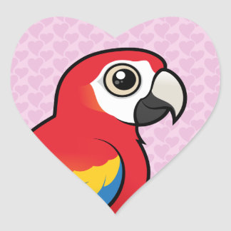 Scarlet Macaw Heart Sticker