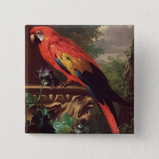 Scarlet Macaw in a Landscape (oil on canvas) Button