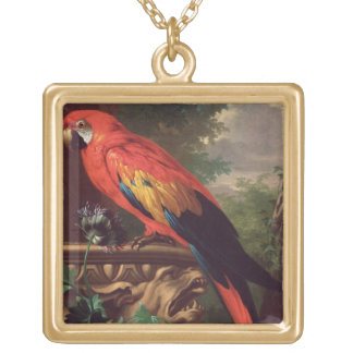 Scarlet Macaw in a Landscape (oil on canvas) Gold Plated Necklace
