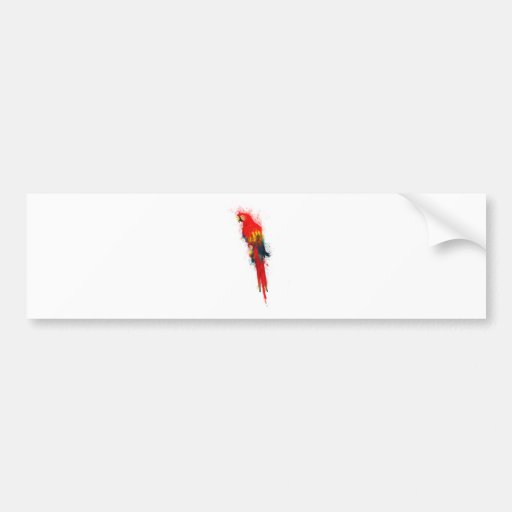 Scarlet Macaw Painted Car Bumper Sticker