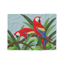 Scarlet Macaw Parrot Gifts Fleece Blanket