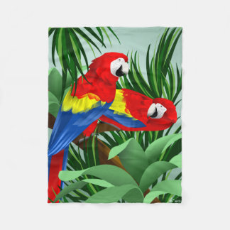 Scarlet Macaw Parrot Lover Gifts Fleece Blanket