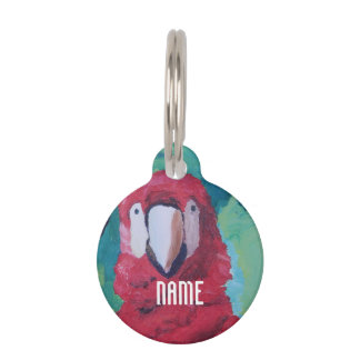 Scarlet Macaw Parrot Pet ID Tag