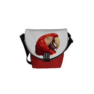Scarlet Macaw Parrot realistic painting Courier Bag