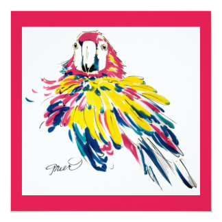 Scarlet Macaw Parrot Silk Painting Invitation
