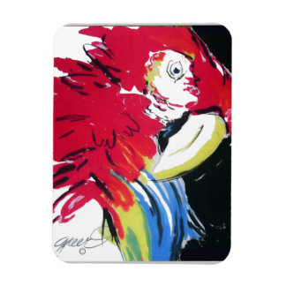 Scarlet Macaw Parrot Silk Painting Magnet