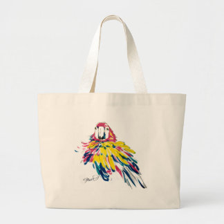 Scarlet Macaw Parrot Silk Painting Tote Bag