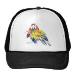 Scarlet Macaw Parrot Silk Painting Trucker Hat