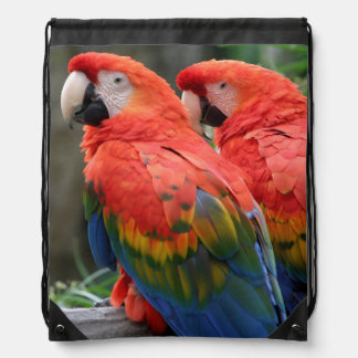 Scarlet Macaw Drawstring Backpack