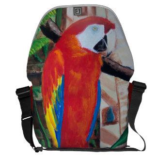 Scarlet Macaw Rickshaw Travel Carry on jungle bag Messenger Bag