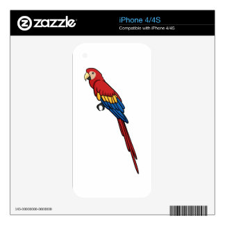 Scarlet Macaw Decals For iPhone 4S