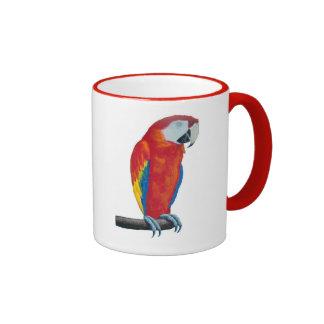 Scarlet Macaw Wildlife Red Ringer Coffee Mug Cup