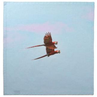 Scarlet Mackaw Couple Flying Napkin