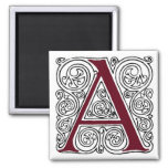 Scarlet Monogram 'A' With Swirls - Magnet