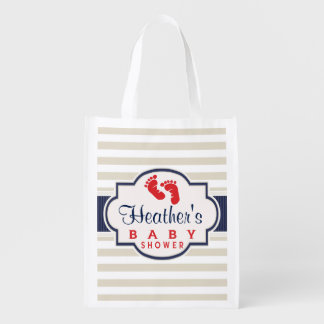 Scarlet, Navy, Eggshell Stripes Baby Shower Reusable Grocery Bags