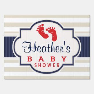 Scarlet, Navy, Eggshell Stripes Baby Shower Sign