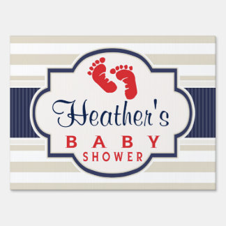 Scarlet, Navy, Eggshell Stripes Baby Shower Yard Signs