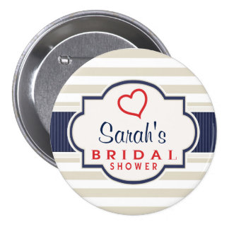 Scarlet, Navy, Eggshell Stripes Bridal Shower Button