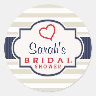 Scarlet, Navy, Eggshell Stripes Bridal Shower Classic Round Sticker