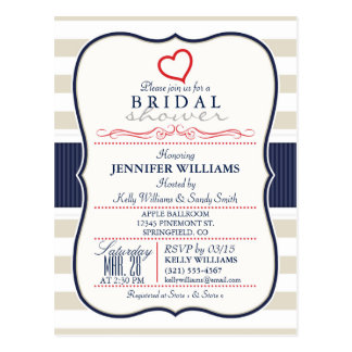 Scarlet, Navy, Eggshell Stripes Bridal Shower Postcard