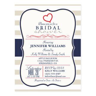 Scarlet, Navy, Eggshell Stripes Bridal Shower Postcard