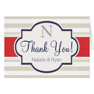 Scarlet, Navy, Eggshell Stripes Thank You Stationery Note Card